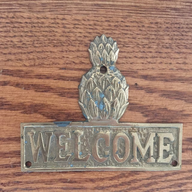 Gorgeous Solid Brass Pineapple Welcome Plaque Sign Has a beautiful patina Would look amazing mounted on your front door;...
