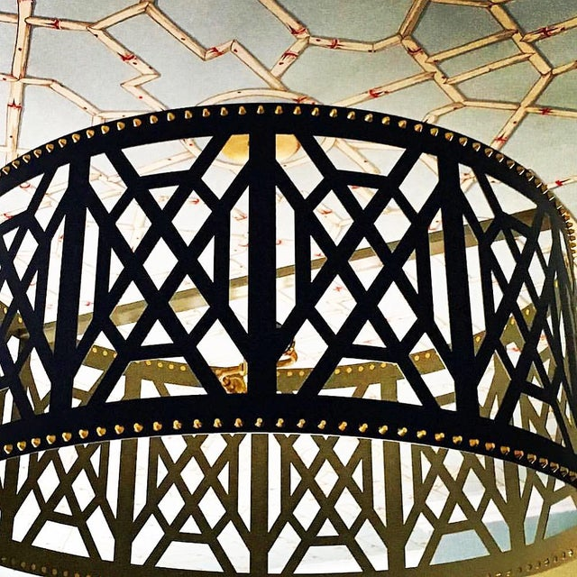 """Beautiful 32"""" Diameter fretwork pendant light in navy finish. The paint match is Glidden/Rich Navy with gold interior and..."""