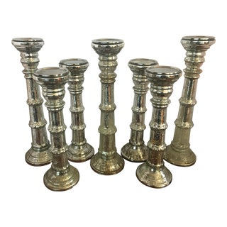 19th Century Mercury Glass Candleholders Candlesticks - Set of 7 For Sale