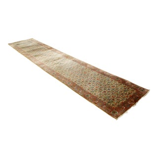 """Mid Century Oriental Hand Knotted Rose Wool Runner Rug Long 36"""" X 176"""" For Sale"""