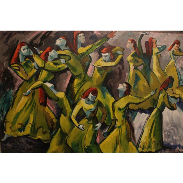 Mid 20th Century Vintage Mid-Century Frederick Buchholz Maelstrom Dancers Painting For Sale - Image 5 of 6