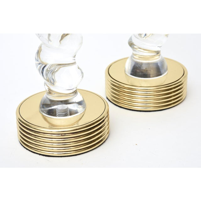 Pair of Vintage Twisted Lucite and Brass Candlesticks For Sale - Image 9 of 10