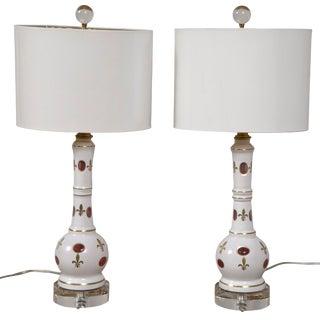 Pair Bohemian Glass Lamps With Gilt Fleur De Lis Design For Sale
