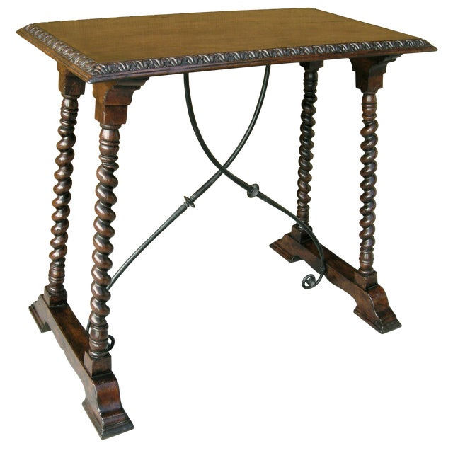 Carved Italian Walnut & Wrought Iron Sorrento Side Table by Randy Esada