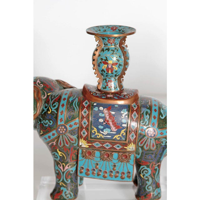 Pair of Chinese Cloisonne Elephants For Sale - Image 11 of 13