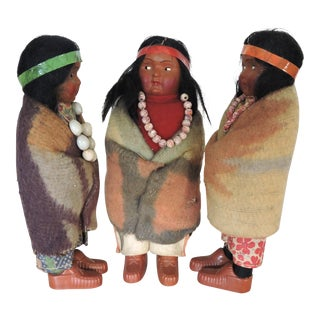 Wooden Skoocum Dolls - Set of 3 For Sale