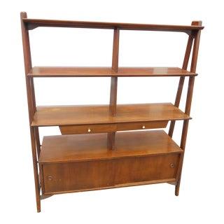 Danish Mid-Century Modern Solid Walnut Room Divider/Bookcase For Sale