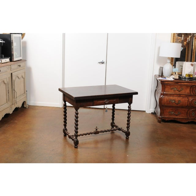 Mid 19th Century French Walnut Louis XIII Style Desk with Barley Twist Base from the 19th Century For Sale - Image 5 of 13