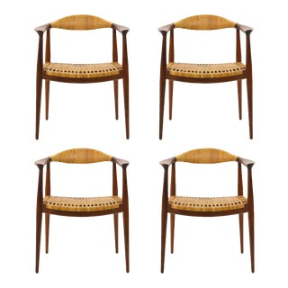 "Set of Four Round or ""The"" Chairs in the Manner of Hans Wegner For Sale"