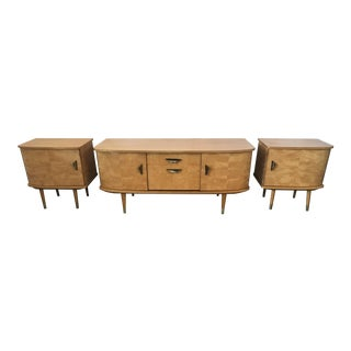 Mid Century Modern Maple Credenza and Matching Side Tables