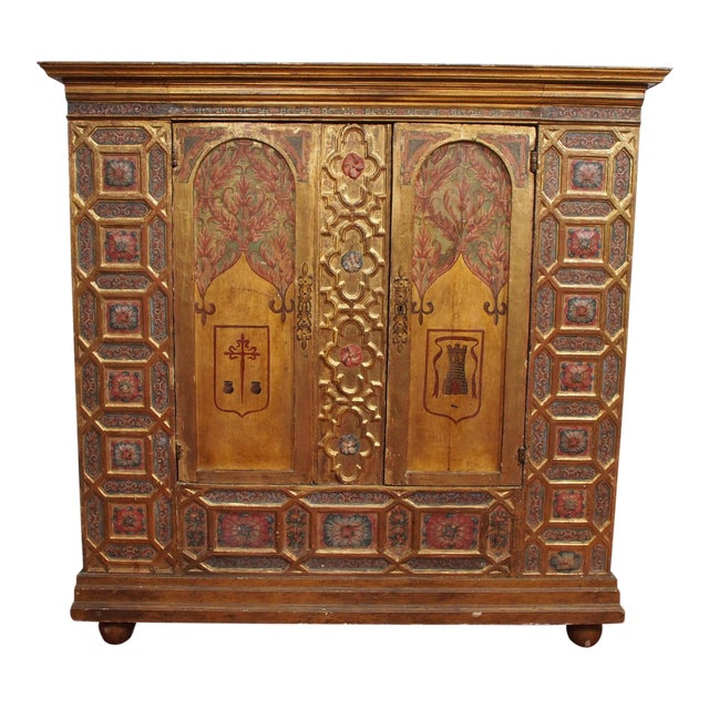 Italian Polychrome Two Door Cabinet For Sale