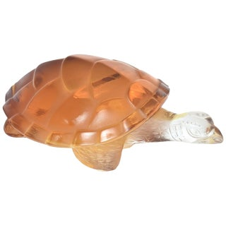 Lalique Clear and Amber Art Glass Caroline Tortoise Turtle Figurine For Sale