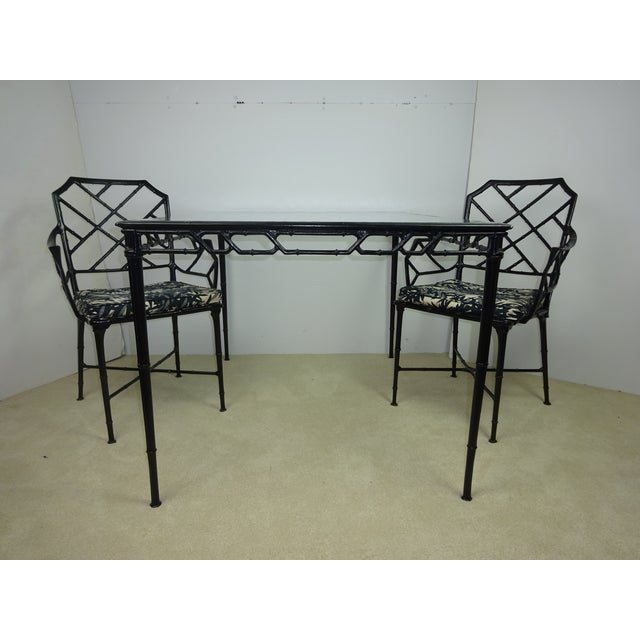 Brown Jordan Calcutta Faux Bamboo Table & Arm Chairs For Sale - Image 5 of 12