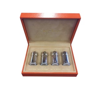 1980s Art Deco Ercuis Saint Hilaire Paris Silverplate Pillar Salt & Pepper Shakers - Set of 4
