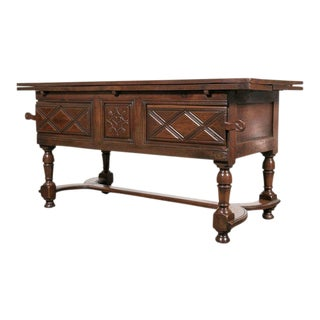 18th Century French Country Solid Cherry Draw Leaf Work or Pantry Table For Sale