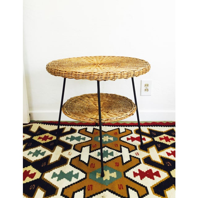 Mid Century Round Wicker Side Table on Metal Base - Image 10 of 10