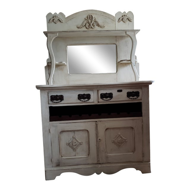 Circa 1880 Farmhouse Style Buffet With Wine Rack For Sale