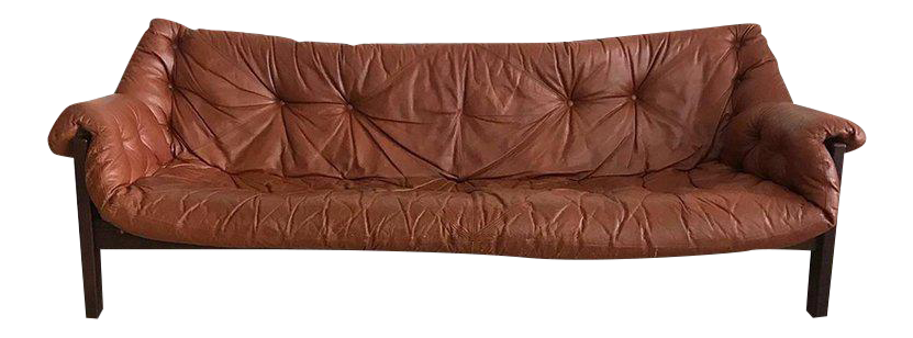 1960s Jean Gillon Brazilian Rosewood Leather Sling Sofa By Italma