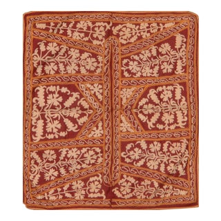 Red Uzbeki Suzani Textile- 3'10″ X 4'4″ For Sale