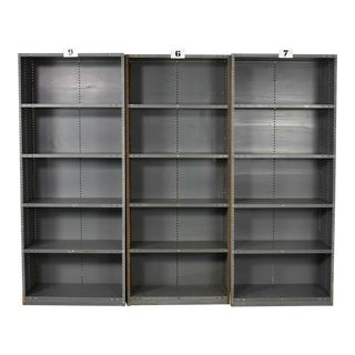 Trio of Industrial Steel Bookcase Shelving Painted Gray – Green Great Patina Vintage For Sale