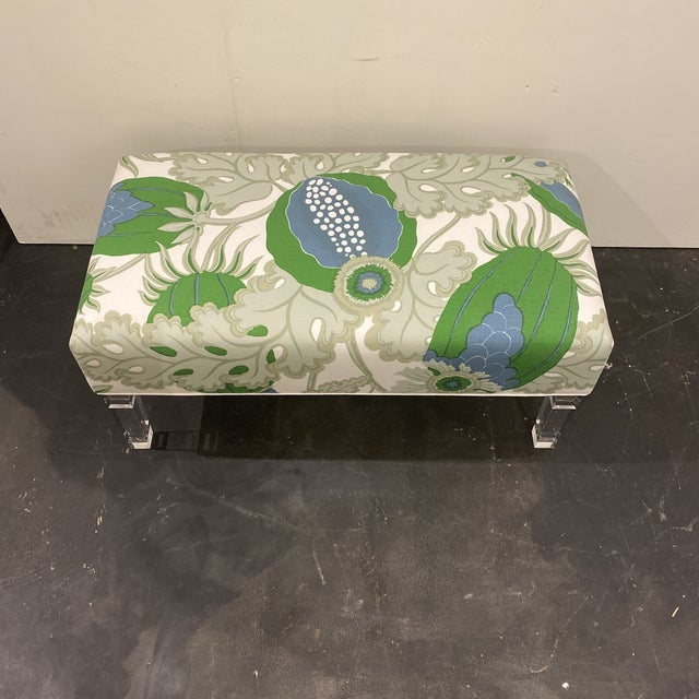 Custom Bench With Lucite Legs For Sale - Image 4 of 11