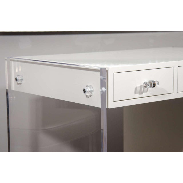 Venfield Custom White Lacquer Desk with Lucite Side Panels For Sale - Image 4 of 8
