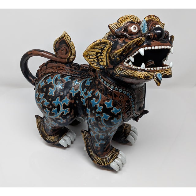 Ceramic Painted Imperial Guardian Lion and Foo Dragon For Sale - Image 9 of 13