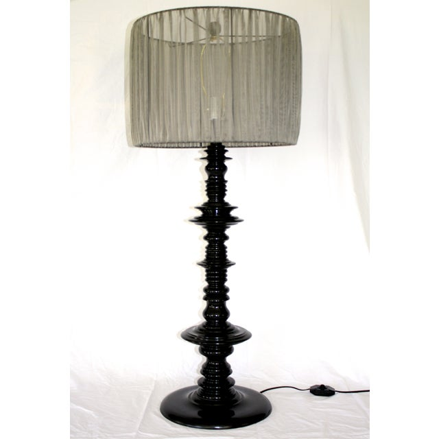 Large Scale Lacquered Wood Spindle Lamp For Sale - Image 4 of 6