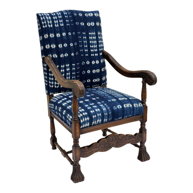19th Century French Oak Carved Armchair W/ Mali Indigo Textile For Sale