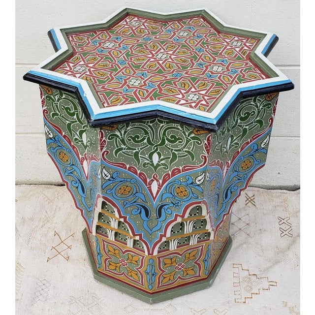 Moroccan Ceuta Painted and Carved Star Table For Sale In Orlando - Image 6 of 7