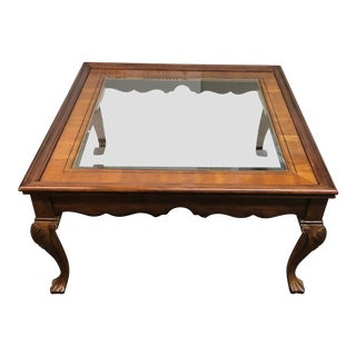 Carved Wood + Glass Cocktail Table For Sale
