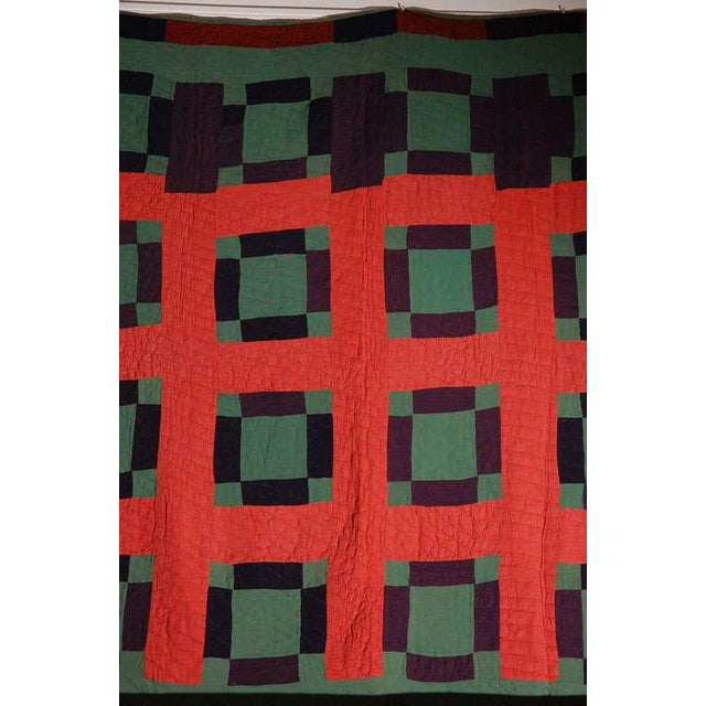 Early 20thc Amish Nine Patch Wool Quilt From Pennsylvania - Image 6 of 9