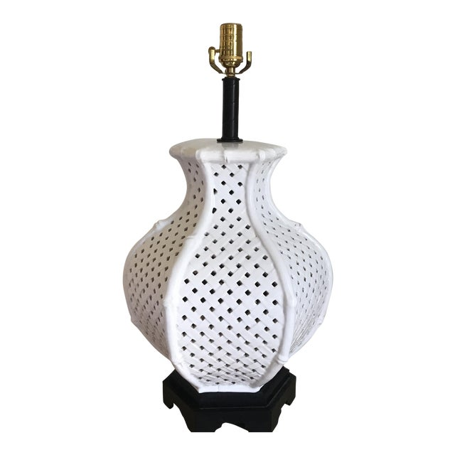 White Faux Bamboo Table Lamp For Sale