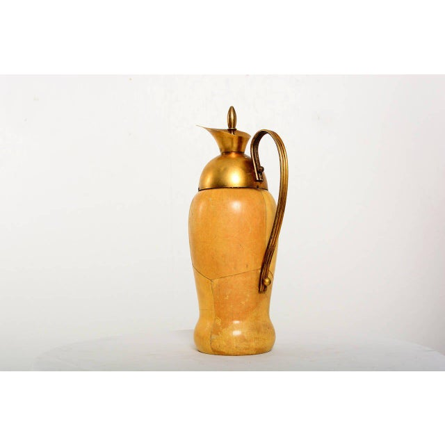 1950s Aldo Tura Parchment & Brass Pitcher For Sale - Image 5 of 8