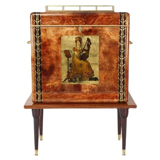 1950S ALDO TURA GOATSKIN BAR CABINET WITH SERVING TRAY For Sale