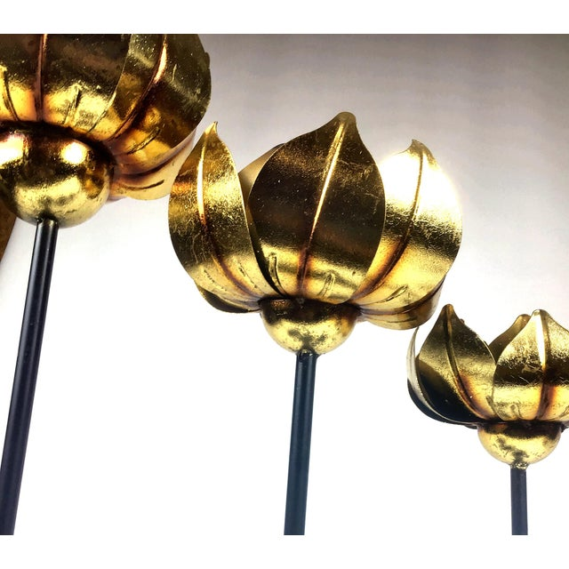 Art Deco Gold Finish Tall Statement Lotus Design Candle Holders - Set of 3 For Sale - Image 3 of 10