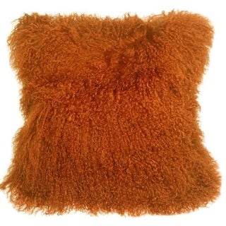 Mongolian Sheepskin Burnt Orange 18x18 Pillow For Sale