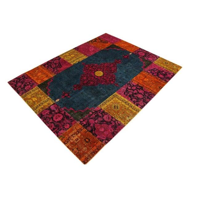Textile Patchwork Color Reform Kevin Green/Magenta Area Rug - 8'1 X 10'3 For Sale - Image 7 of 8