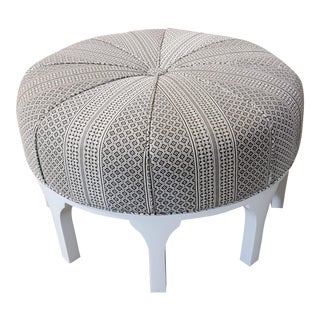 Custom Upholstered Brown Ottoman For Sale