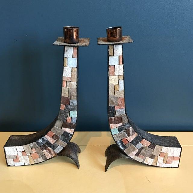 Stone & Copper Mosaic Shabbat Candlesticks - A Pair - Image 2 of 6