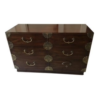 Henredon Tansu Campaign Hall Asian Style Double Dresser For Sale