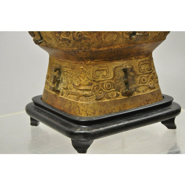 Antique Chinese Gilt Bronze & Rosewood Figural Double Light Table Lamp For Sale - Image 11 of 13