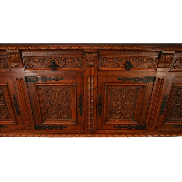 1950s French Renaissance-Style Oak Sideboard For Sale - Image 4 of 8