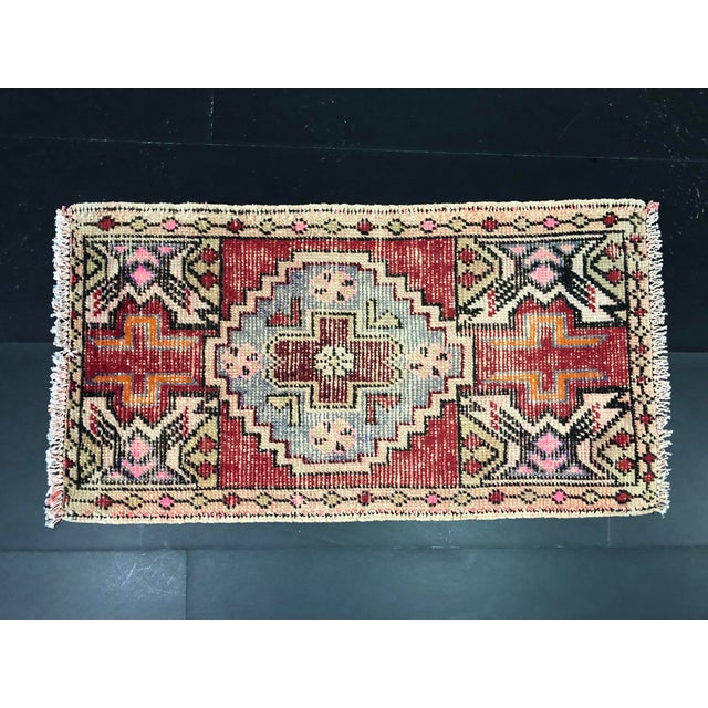 Faded Oushak Distressed Turkish Vintage Small Rug 1′7″ × 2′11″ For Sale - Image 4 of 6