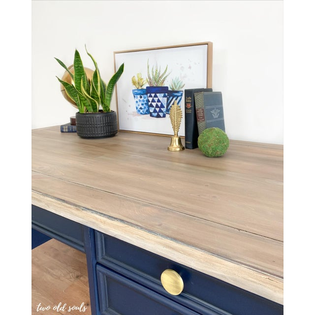 1990s Nautical Navy Blue Executive Desk With Driftwood Top For Sale - Image 5 of 9