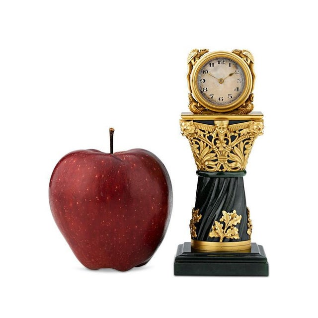 Paul Frey Miniature 18-Karat Gold and Jade Clock For Sale In New Orleans - Image 6 of 7