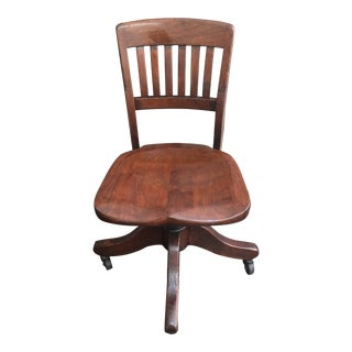 Early 20th Century Vintage B L Marble Co. Walnut Swivel Office Chair For Sale