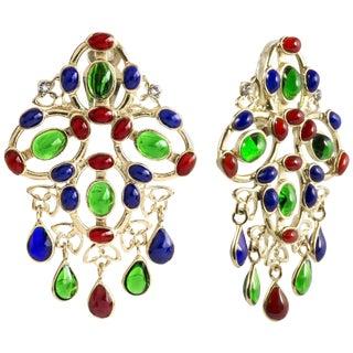 Gripoix Multi Color Plumetis Clip Drop Earrings For Sale
