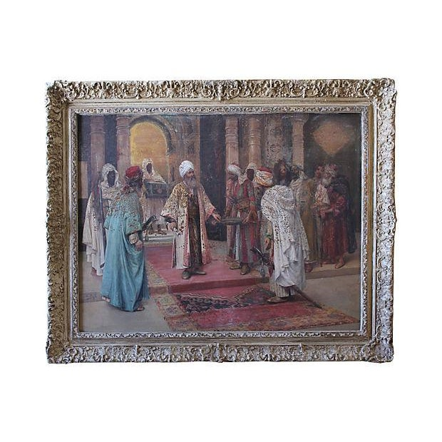 C. Pujol Antique Oil Painting on Board - Image 1 of 7