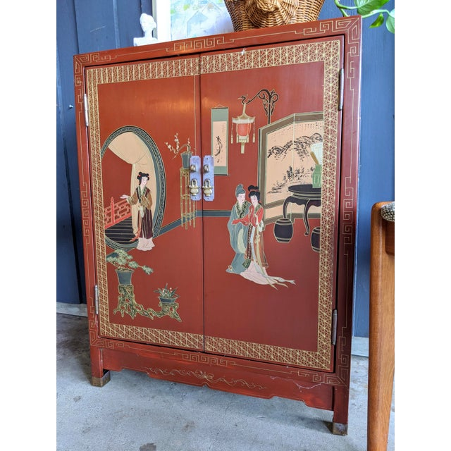 Metal 1960s Hand-Painted Chinoiserie Cabinet / Night Stand For Sale - Image 7 of 13